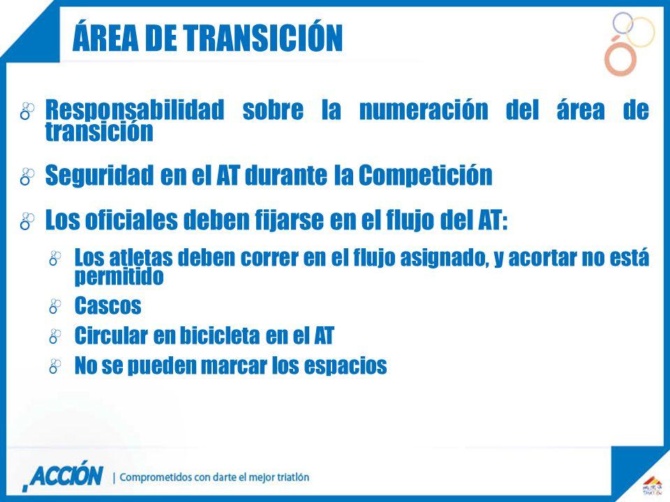 Responsabilidad sobre la numeración del área de transición Seguridad en el AT durante la Competición Los oficiales deben fijarse en el flujo del AT: L