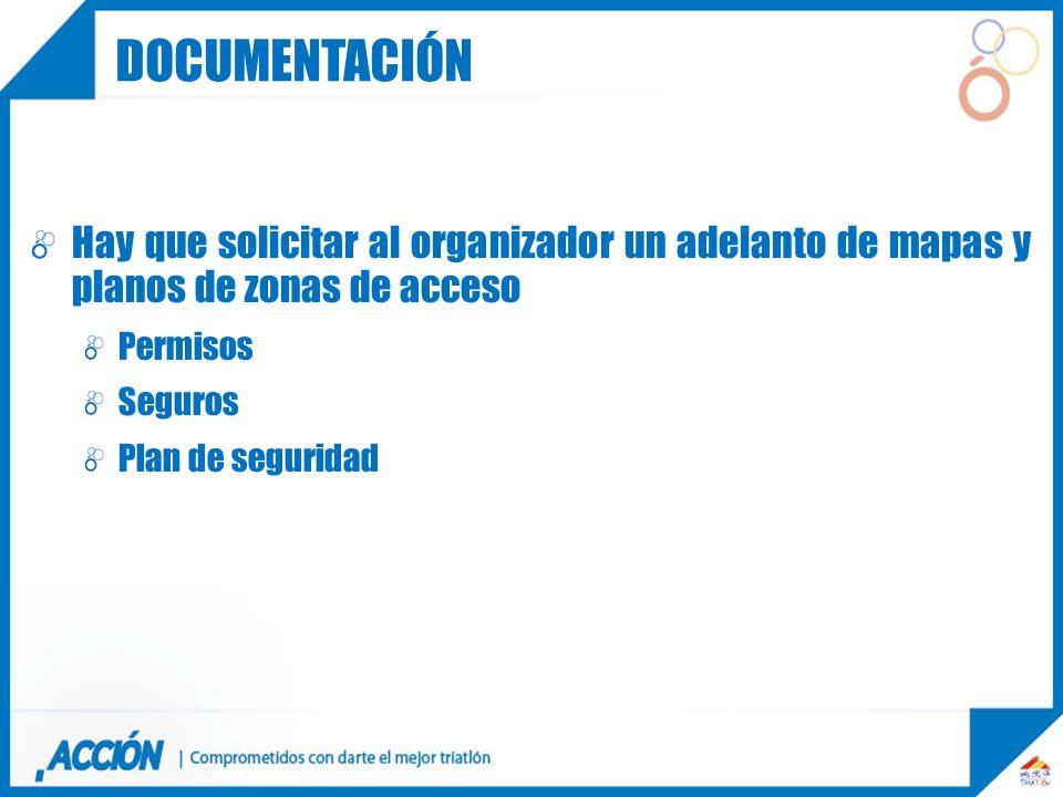 Hay que solicitar al organizador un adelanto de mapas y planos de zonas de acceso Permisos Seguros Plan de seguridad DOCUMENTACION DOCUMENTACIÓN
