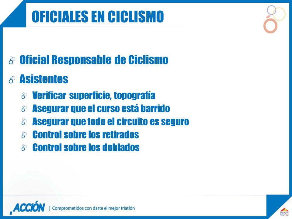 Oficial Responsable de Ciclismo Asistentes Verificar superficie, topografía Asegurar que el curso está barrido Asegurar que todo el circuito es seguro