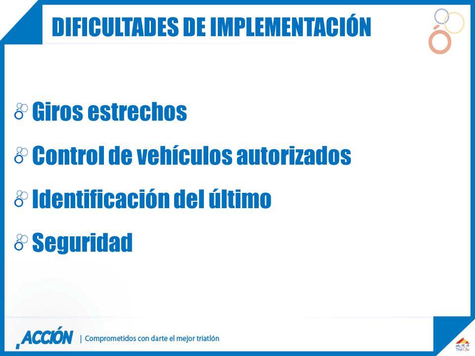 Giros estrechos Control de vehículos autorizados Identificación del último Seguridad CARRERA DIFICULTADES DE IMPLEMENTACIÓN