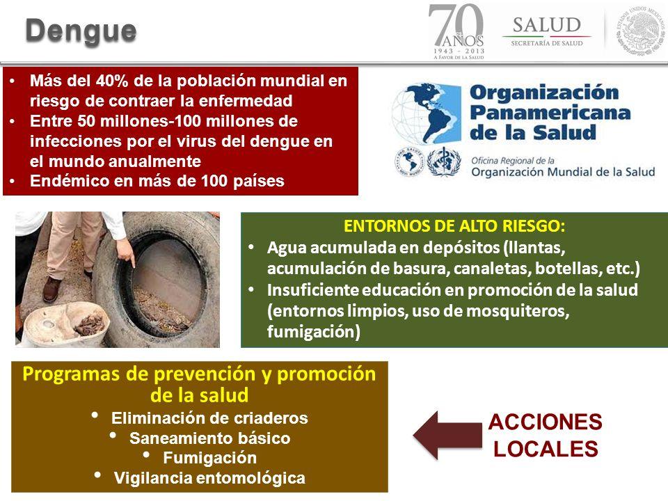 ENTORNOS DE ALTO RIESGO: Agua acumulada en depósitos (llantas, acumulación de basura, canaletas, botellas, etc.) Insuficiente educación en promoción d