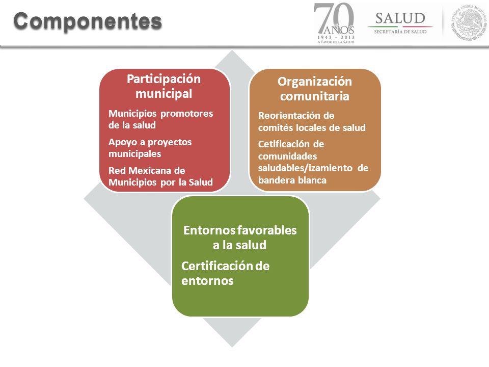 Componentes Participación municipal Municipios promotores de la salud Apoyo a proyectos municipales Red Mexicana de Municipios por la Salud Organizaci