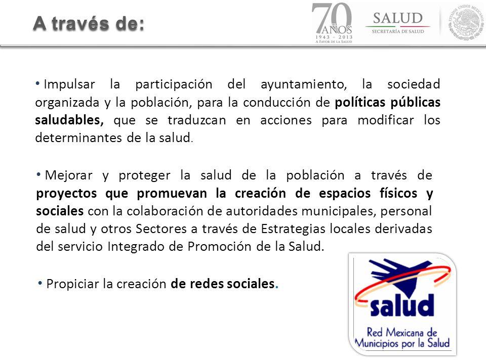 A través de: Impulsar la participación del ayuntamiento, la sociedad organizada y la población, para la conducción de políticas públicas saludables, q