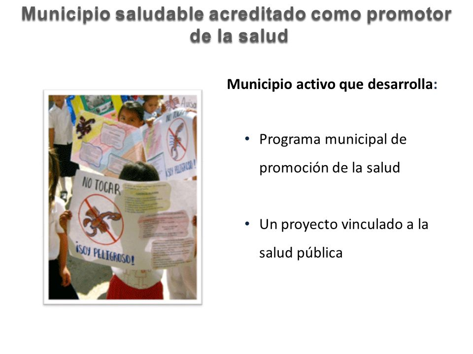 Programa municipal de promoción de la salud Un proyecto vinculado a la salud pública Municipio saludable acreditado como promotor de la salud de la sa