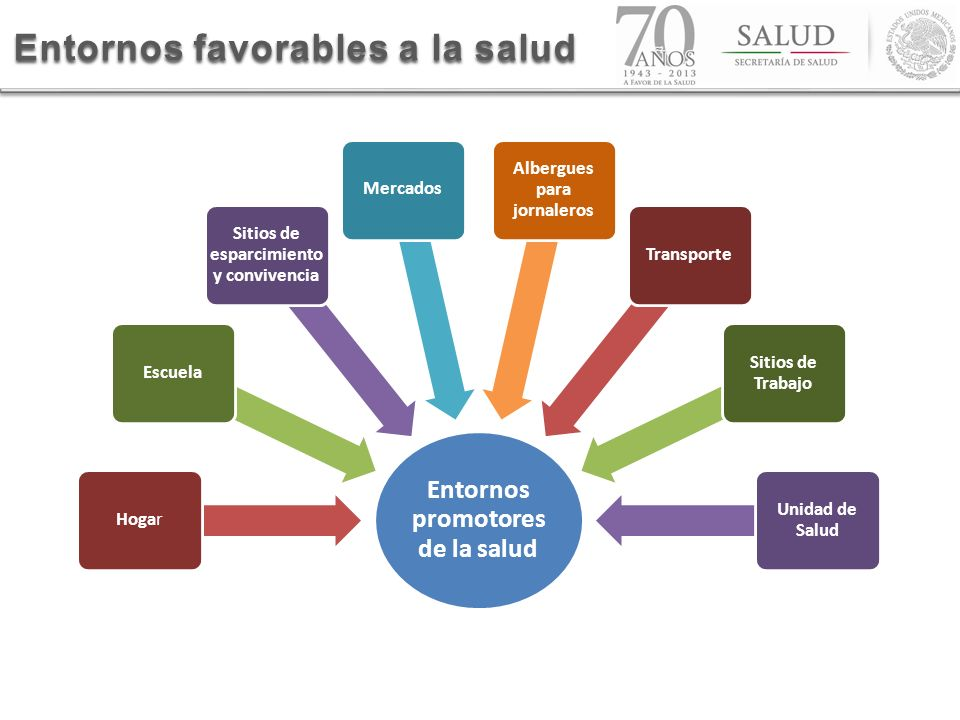 Entornos promotores de la salud HogarEscuela Sitios de esparcimiento y convivencia Mercados Albergues para jornaleros Transporte Sitios de Trabajo Uni