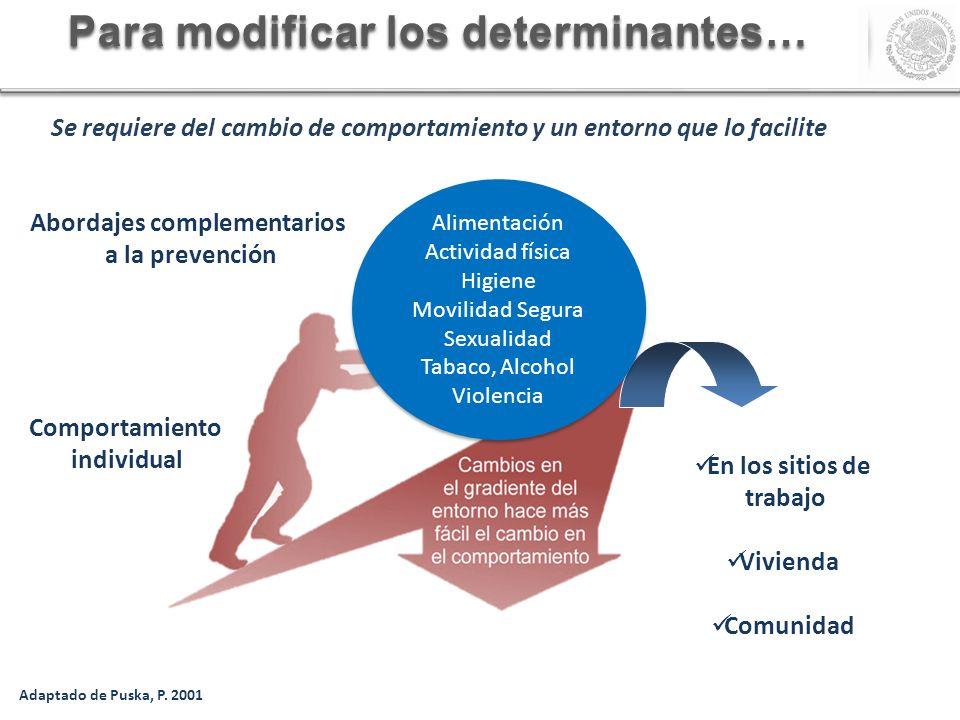 Para modificar los determinantes… En los sitios de trabajo Vivienda Comunidad Alimentación Actividad física Higiene Movilidad Segura Sexualidad Tabaco