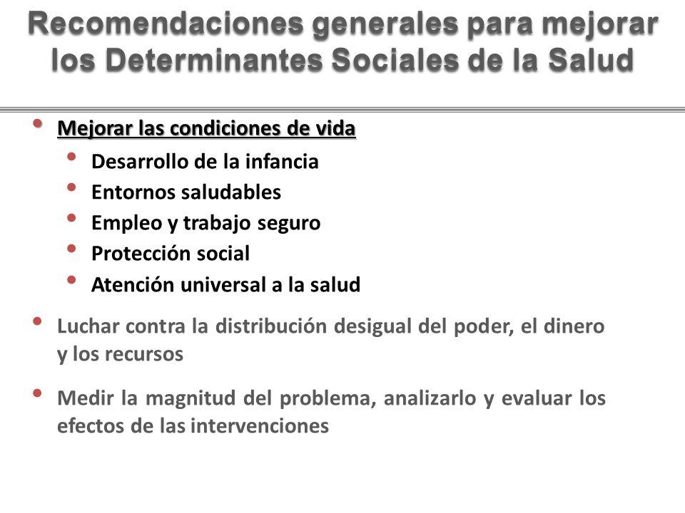 Mejorar las condiciones de vida Mejorar las condiciones de vida Desarrollo de la infancia Entornos saludables Empleo y trabajo seguro Protección socia