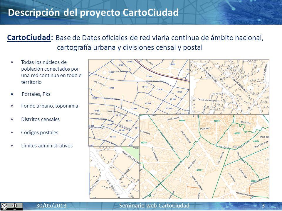 CartoCiudad: BD oficial de red viaria, cartografía urbana e información censal y postal17 / 10 / 2012 30/05/2013 Seminario web CartoCiudad 3 Todas los