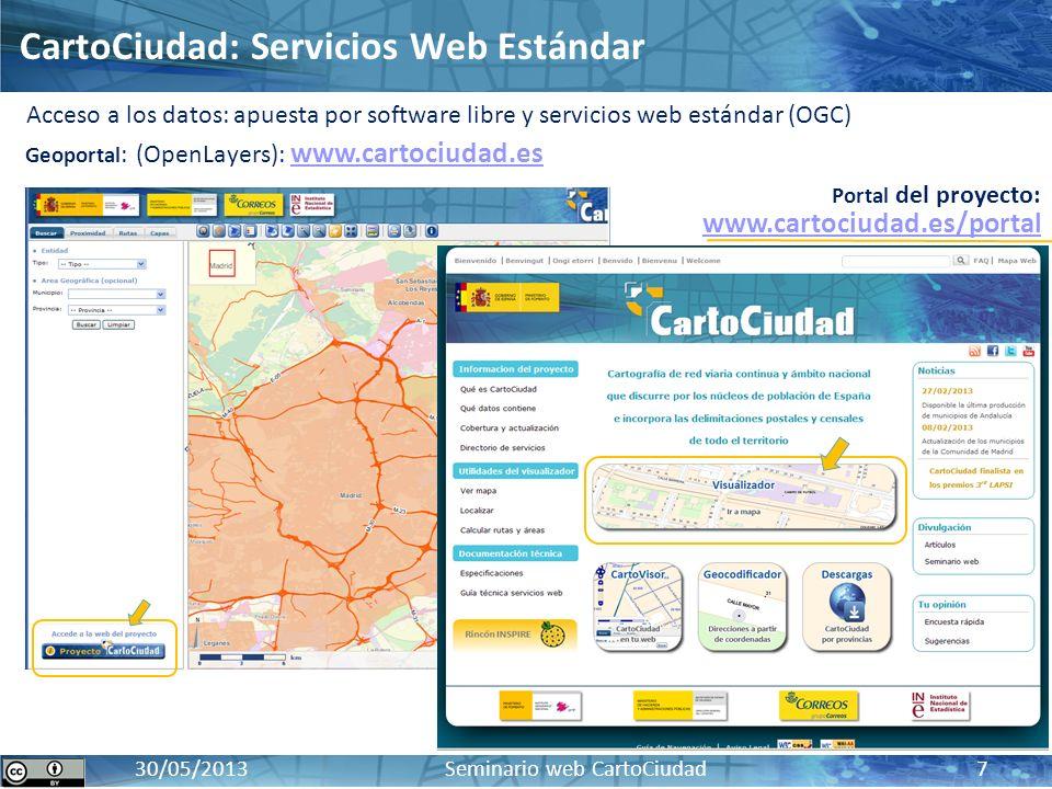 CartoCiudad: BD oficial de red viaria, cartografía urbana e información censal y postal17 / 10 / 2012 30/05/2013 Seminario web CartoCiudad 7 Acceso a