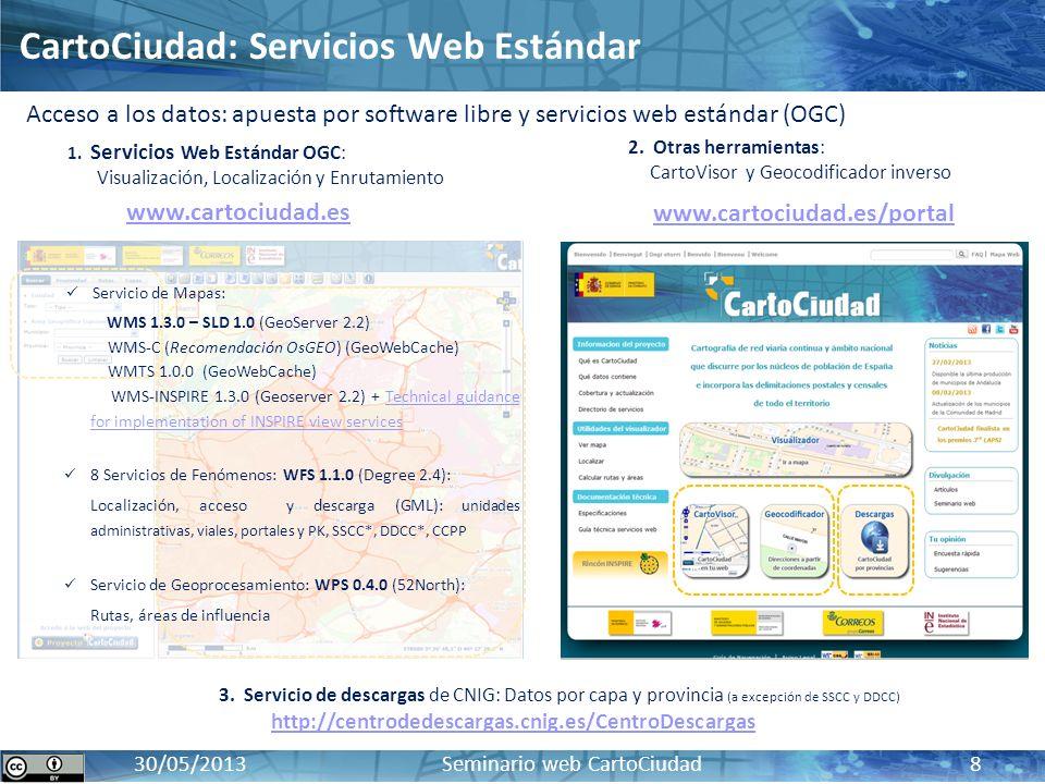 CartoCiudad: BD oficial de red viaria, cartografía urbana e información censal y postal17 / 10 / 2012 30/05/2013 Seminario web CartoCiudad 8 www.carto