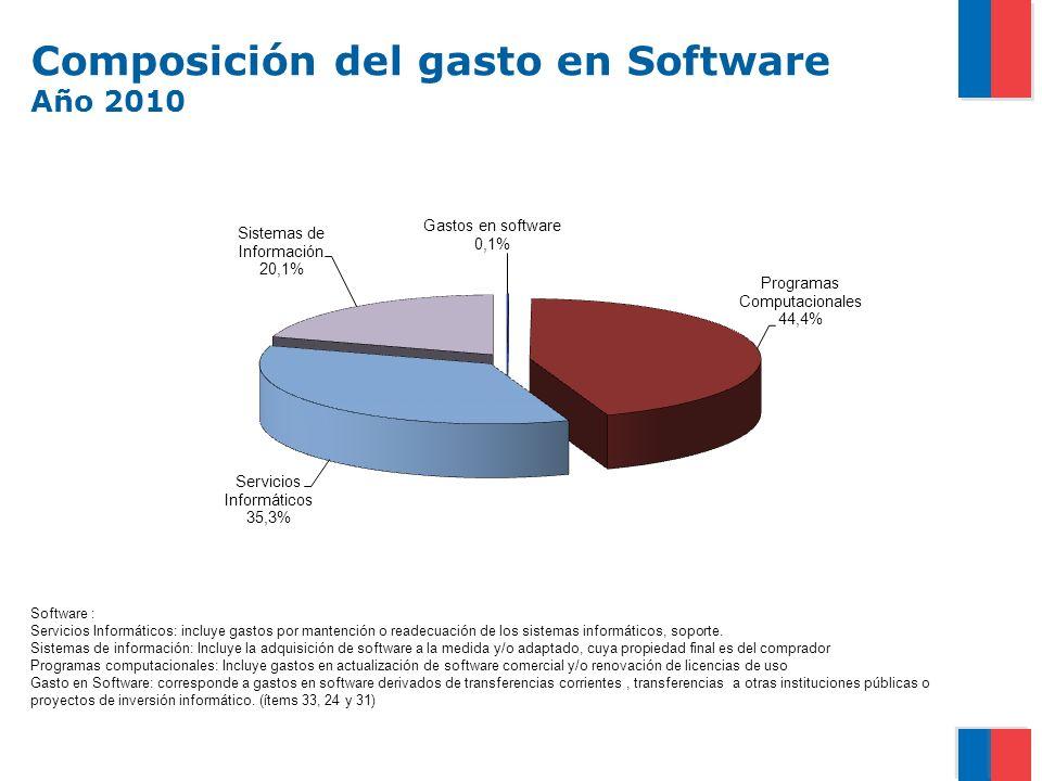 Composición del gasto en Software Año 2010 Software : Servicios Informáticos: incluye gastos por mantención o readecuación de los sistemas informáticos, soporte.