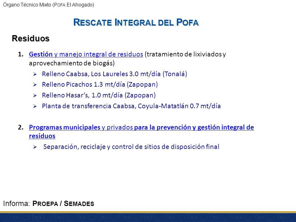 Órgano Técnico Mixto (P OFA El Ahogado) 1.Desazolve y rehabilitación de la presa El Ahogado y limpieza de superficies afectadas (obras a realizarse en