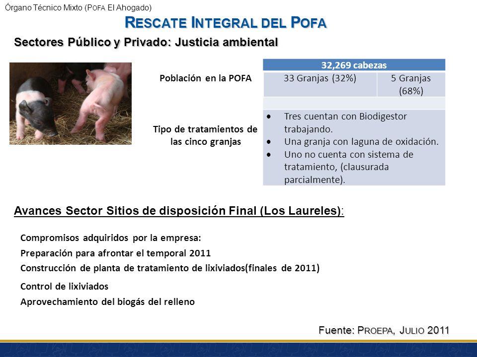 Órgano Técnico Mixto (P OFA El Ahogado) Antecedentes Sector Agropecuario: Jalisco cuenta con 1200 granjas porcícolas. Se cuenta con registro de 60 gra