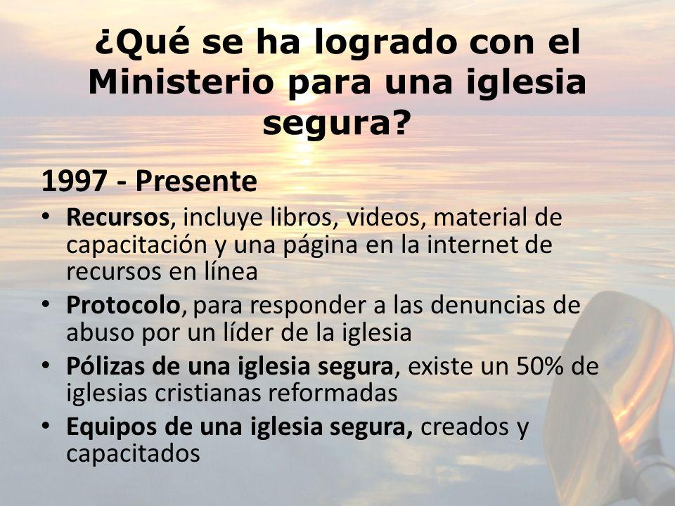 ¿Qué se ha logrado con el Ministerio para una iglesia segura? 1997 - Presente Recursos, incluye libros, videos, material de capacitación y una página