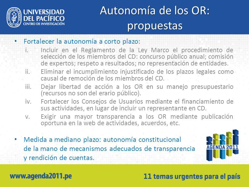 Autonomía de los OR: propuestas Fortalecer la autonomía a corto plazo: i.Incluir en el Reglamento de la Ley Marco el procedimiento de selección de los miembros del CD: concurso público anual; comisión de expertos; respeto a resultados; no representación de entidades.