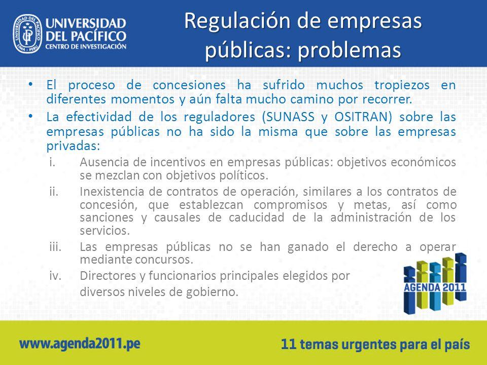 Regulación de empresas públicas: problemas El proceso de concesiones ha sufrido muchos tropiezos en diferentes momentos y aún falta mucho camino por recorrer.