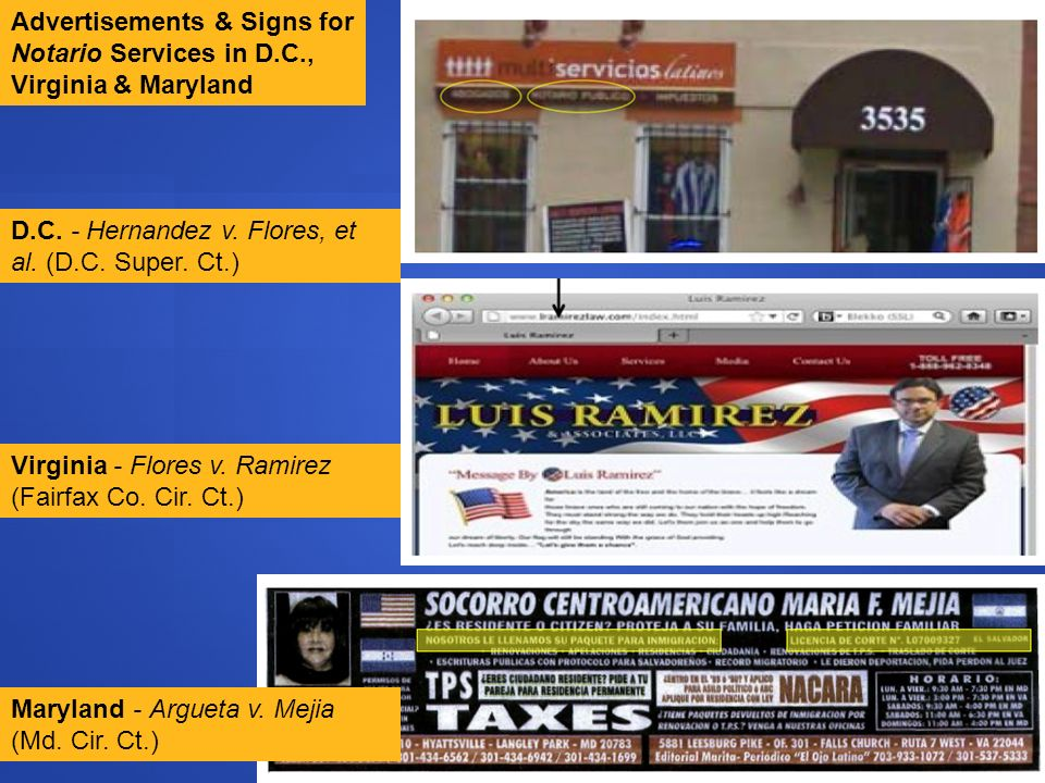 Advertisements & Signs for Notario Services in D.C., Virginia & Maryland Maryland - Argueta v. Mejia (Md. Cir. Ct.) Virginia - Flores v. Ramirez (Fair