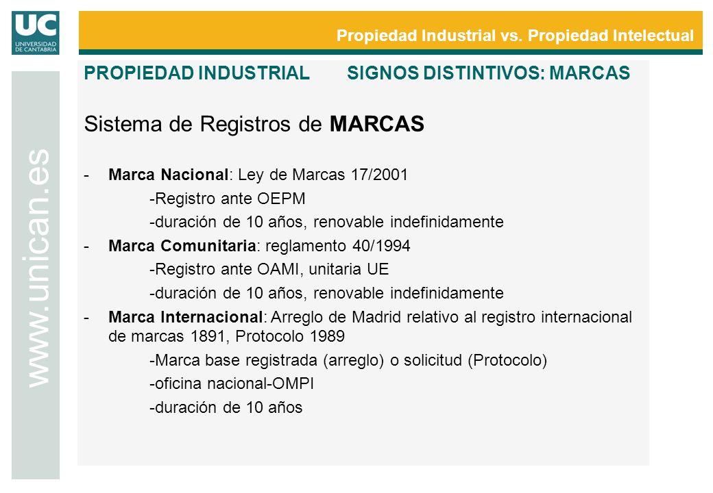Propiedad Industrial vs. Propiedad Intelectual www.unican.es PROPIEDAD INDUSTRIALSIGNOS DISTINTIVOS: MARCAS Sistema de Registros de MARCAS -Marca Naci