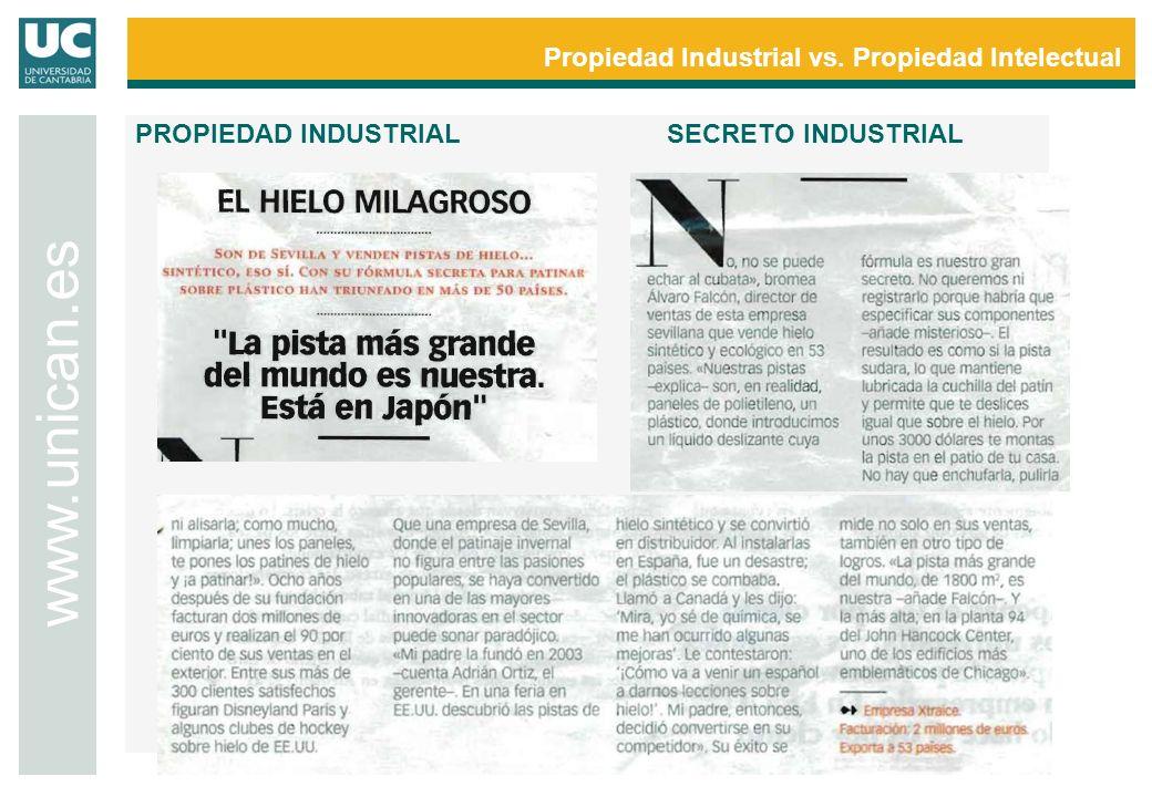 Propiedad Industrial vs. Propiedad Intelectual www.unican.es PROPIEDAD INDUSTRIALSECRETO INDUSTRIAL