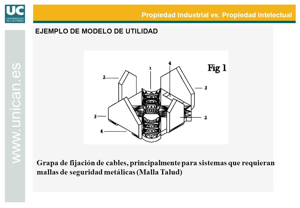 Propiedad Industrial vs. Propiedad Intelectual www.unican.es EJEMPLO DE MODELO DE UTILIDAD Grapa de fijación de cables, principalmente para sistemas q
