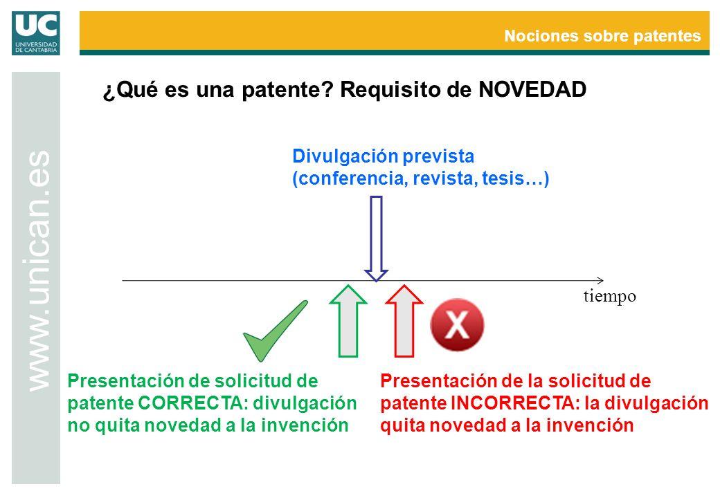 Nociones sobre patentes www.unican.es tiempo Divulgación prevista (conferencia, revista, tesis…) Presentación de solicitud de patente CORRECTA: divulg