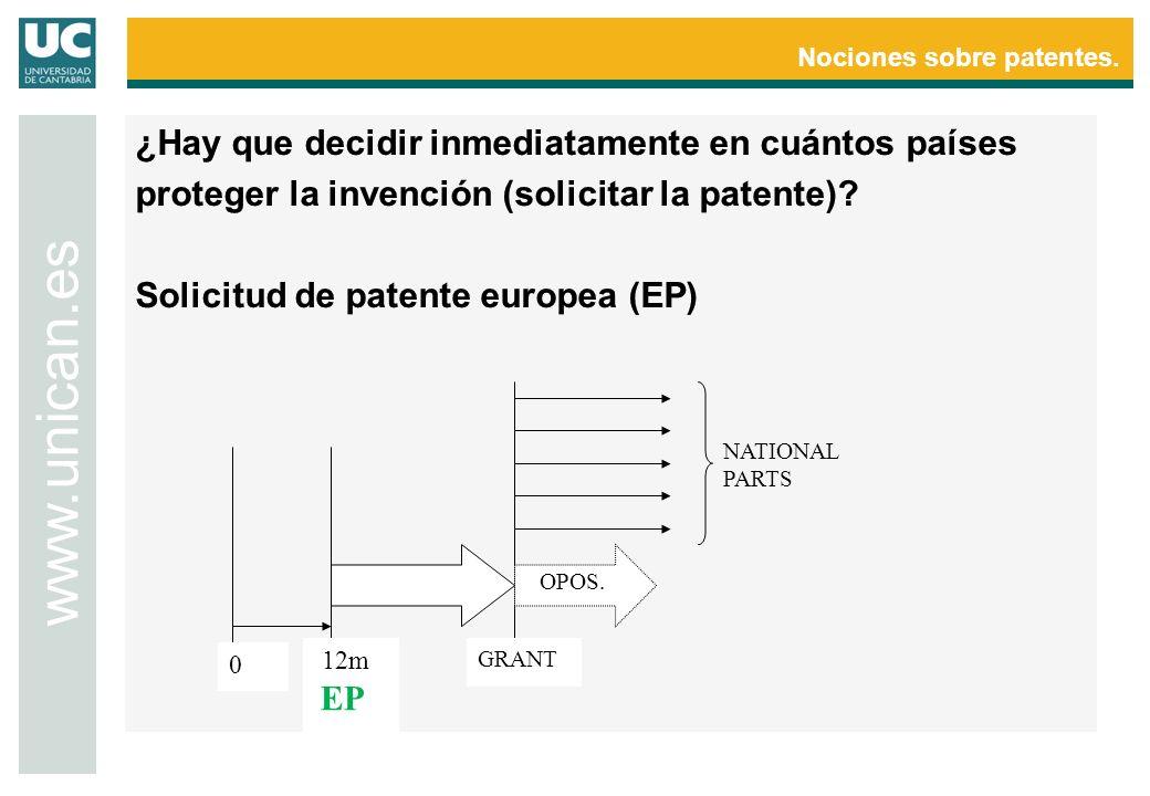 Nociones sobre patentes. www.unican.es 0 12m EP GRANT OPOS. NATIONAL PARTS
