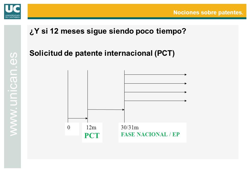 Nociones sobre patentes. www.unican.es 0 12m PCT 30/31m FASE NACIONAL / EP