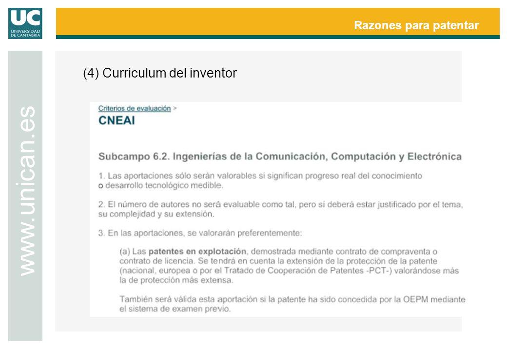 Razones para patentar www.unican.es (4) Curriculum del inventor