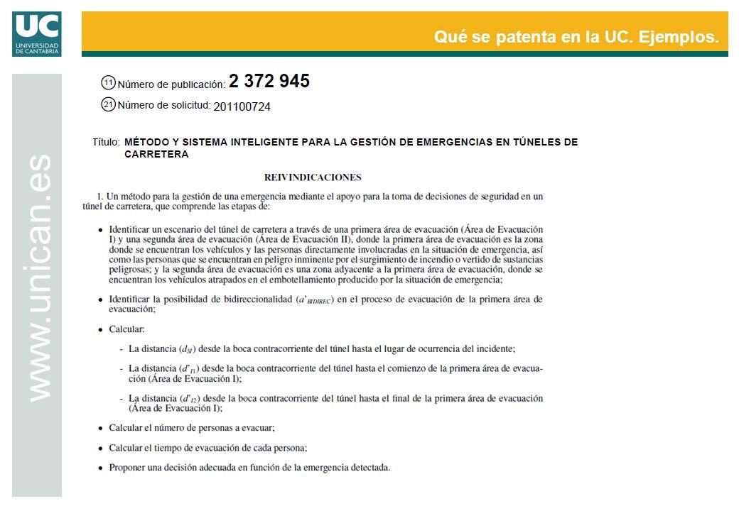 Qué se patenta en la UC. Ejemplos. www.unican.es