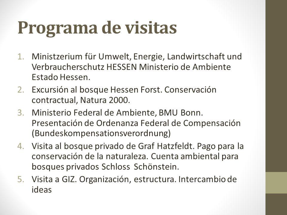 Programa de visitas 1.Ministzerium für Umwelt, Energie, Landwirtschaft und Verbraucherschutz HESSEN Ministerio de Ambiente Estado Hessen.