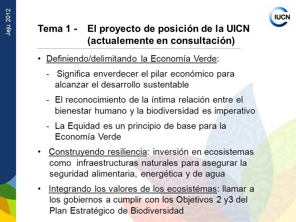 Jeju 2012 Tema 1 - El proyecto de posición de la UICN (actualemente en consultación) Definiendo/delimitando la Economía Verde: - Significa enverdecer