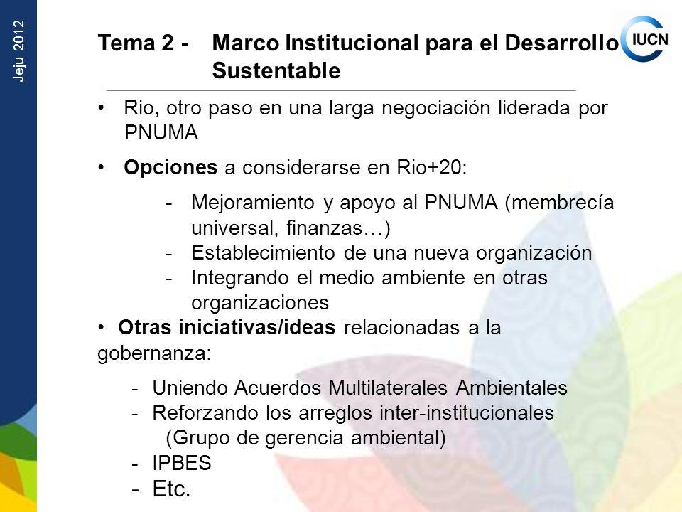 Jeju 2012 Tema 2 - Marco Institucional para el Desarrollo Sustentable Rio, otro paso en una larga negociación liderada por PNUMA Opciones a considerar