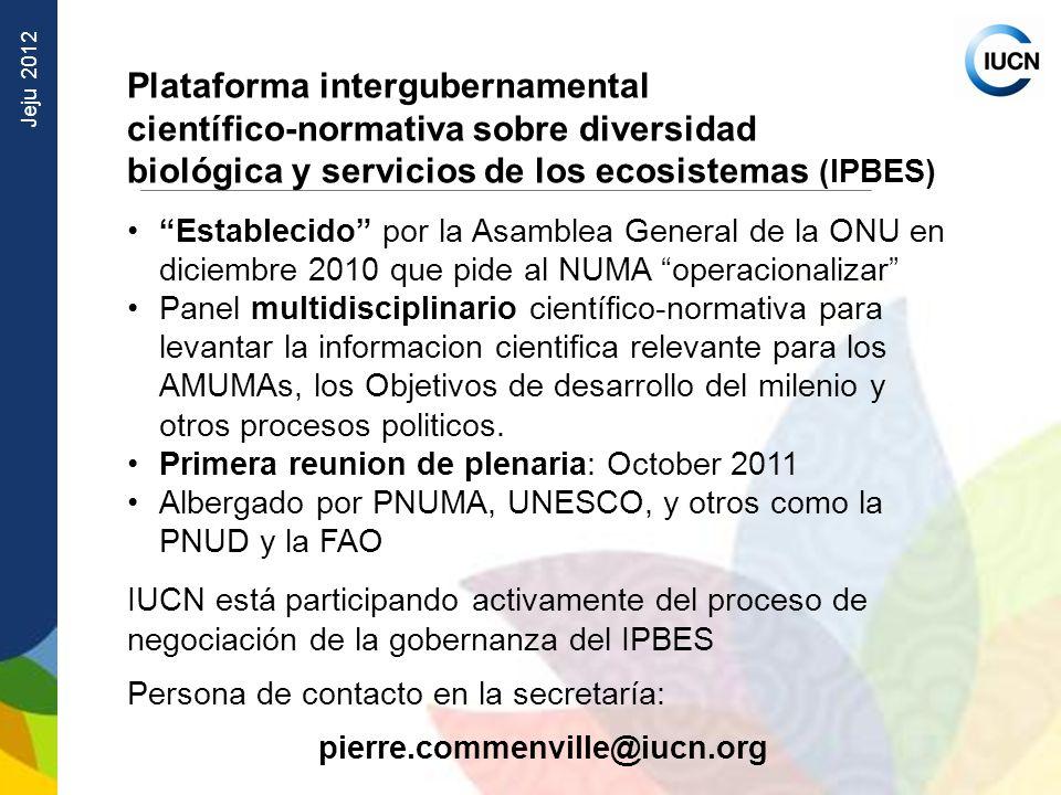 Jeju 2012 Plataforma intergubernamental científico normativa sobre diversidad biológica y servicios de los ecosistemas (IPBES) Establecido por la Asam