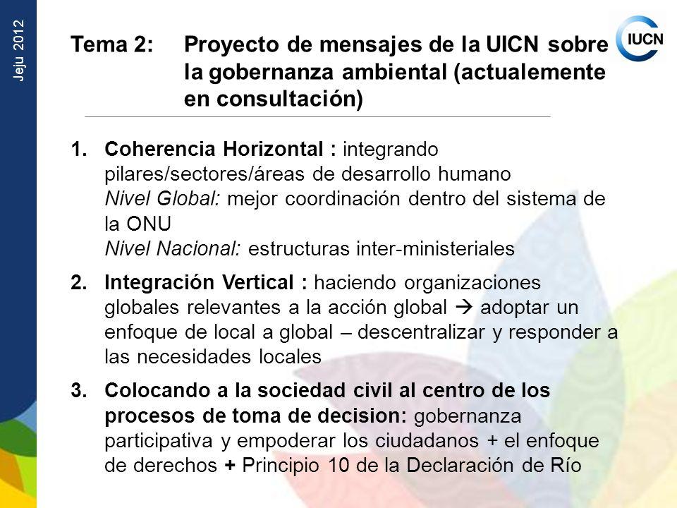 Jeju 2012 Tema 2: Proyecto de mensajes de la UICN sobre la gobernanza ambiental (actualemente en consultación) 1.Coherencia Horizontal : integrando pi