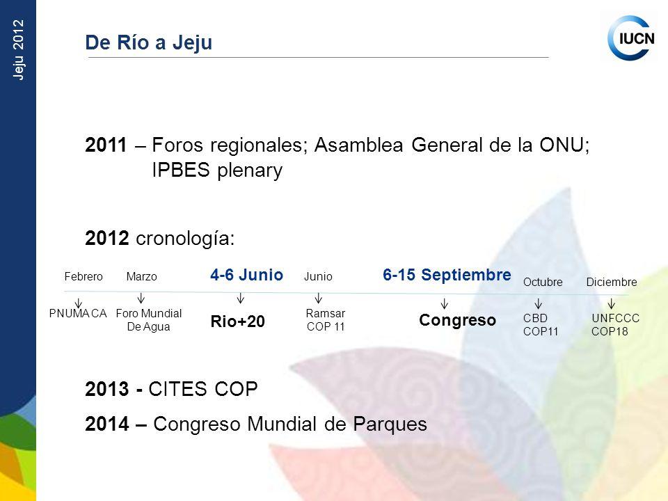 Jeju 2012 De Río a Jeju 2011 – Foros regionales; Asamblea General de la ONU; IPBES plenary 2012 cronología: 2013 - CITES COP 2014 – Congreso Mundial d