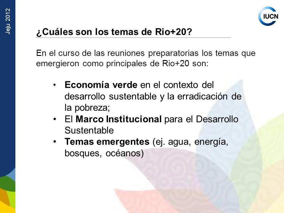 Jeju 2012 ¿Cuáles son los temas de Rio+20? En el curso de las reuniones preparatorias los temas que emergieron como principales de Rio+20 son: Economí