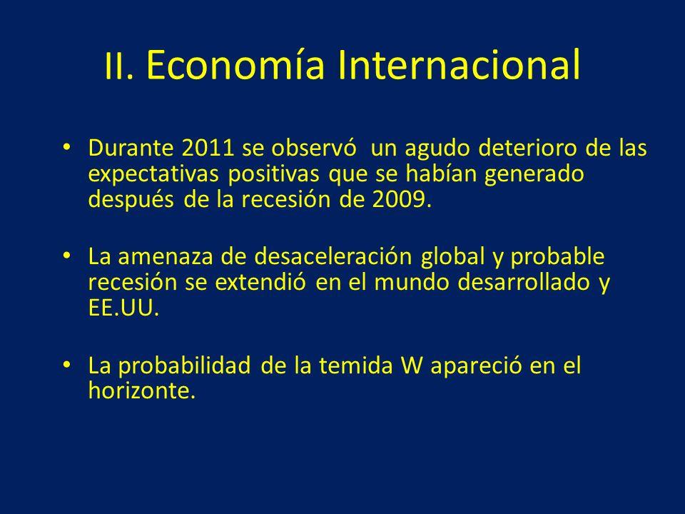 II. Economía Internacional Durante 2011 se observó un agudo deterioro de las expectativas positivas que se habían generado después de la recesión de 2