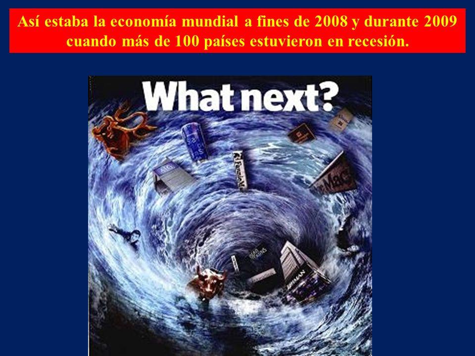 Así estaba la economía mundial a fines de 2008 y durante 2009 cuando más de 100 países estuvieron en recesión.
