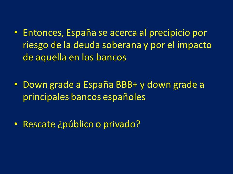 Entonces, España se acerca al precipicio por riesgo de la deuda soberana y por el impacto de aquella en los bancos Down grade a España BBB+ y down grade a principales bancos españoles Rescate ¿público o privado