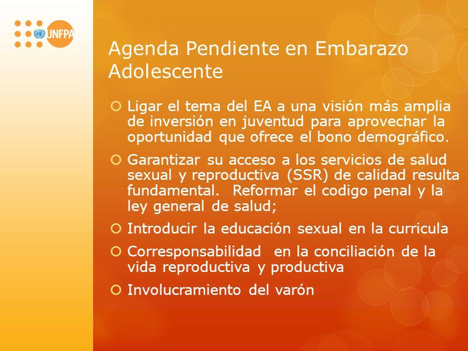 Agenda Pendiente en Embarazo Adolescente Ligar el tema del EA a una visión más amplia de inversión en juventud para aprovechar la oportunidad que ofrece el bono demográfico.