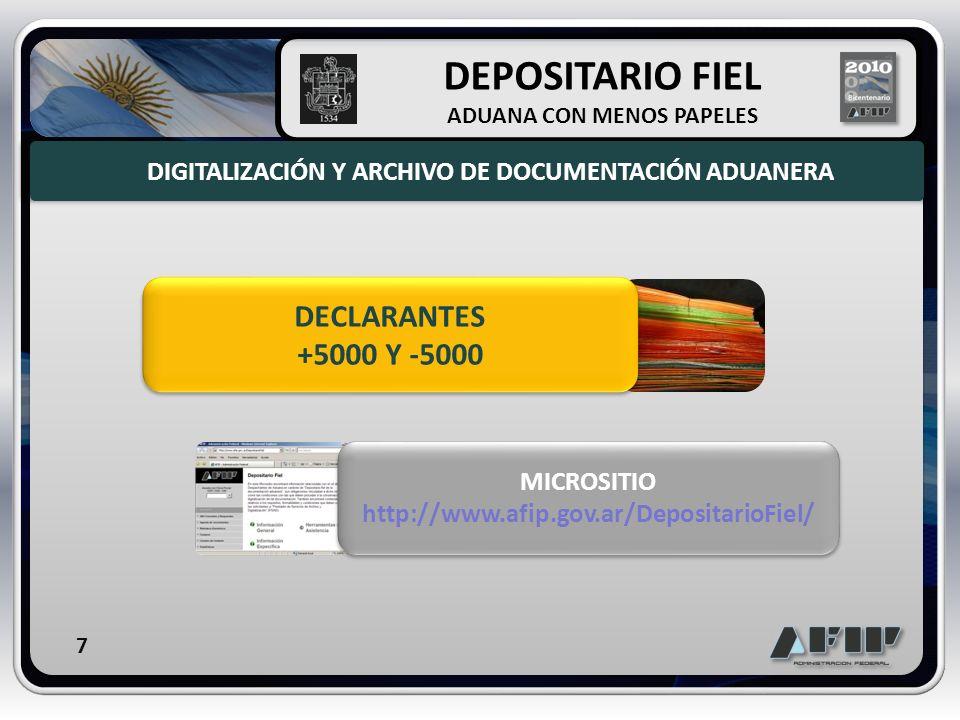 DECLARANTES +5000 Y -5000 MICROSITIO http://www.afip.gov.ar/DepositarioFiel/ MICROSITIO http://www.afip.gov.ar/DepositarioFiel/ DIGITALIZACIÓN Y ARCHI