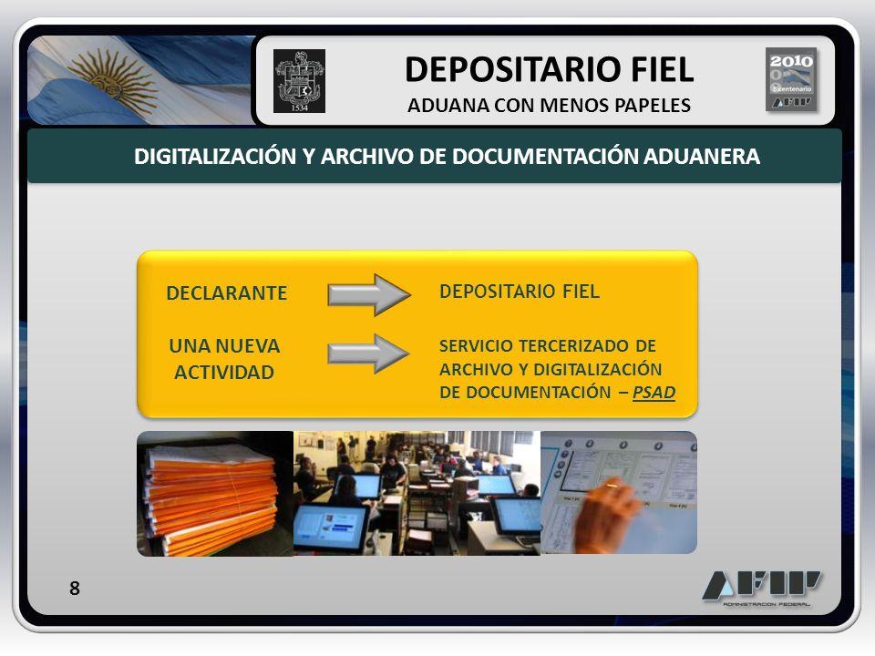 DECLARANTE DEPOSITARIO FIEL UNA NUEVA ACTIVIDAD SERVICIO TERCERIZADO DE ARCHIVO Y DIGITALIZACIÓN DE DOCUMENTACIÓN – PSAD DIGITALIZACIÓN Y ARCHIVO DE D