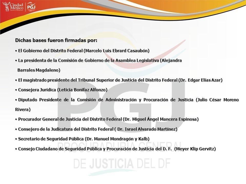 Dichas bases fueron firmadas por: El Gobierno del Distrito Federal (Marcelo Luis Ebrard Casaubón) El Gobierno del Distrito Federal (Marcelo Luis Ebrar