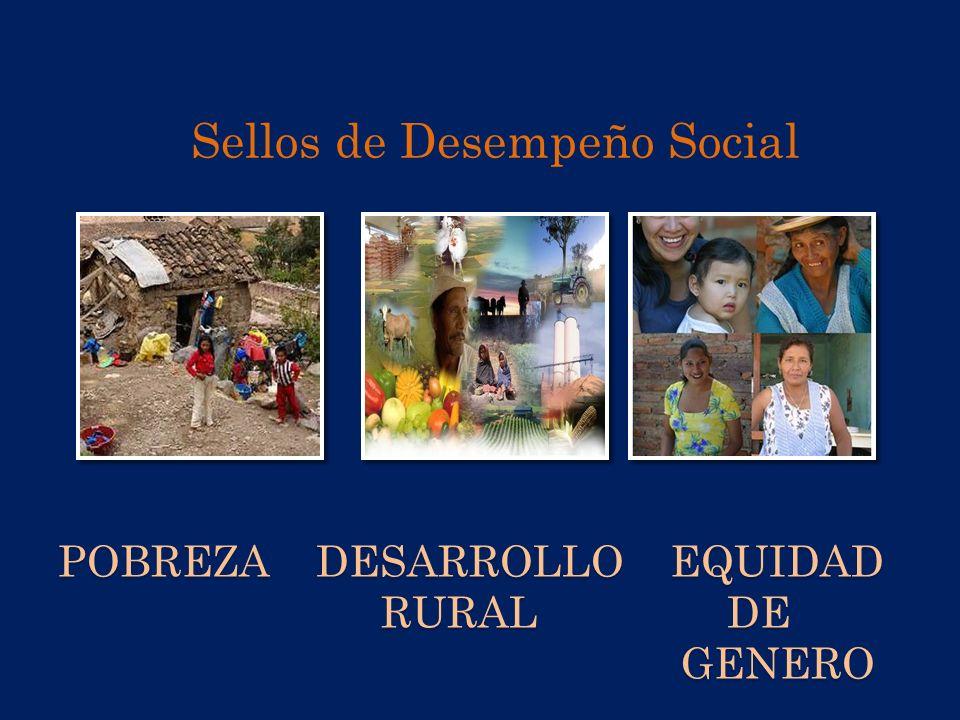 POBREZA DESARROLLO EQUIDAD RURAL DE GENERO Sellos de Desempeño Social