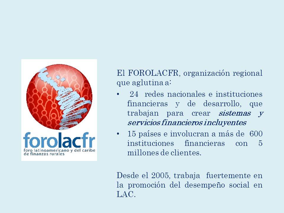 El FOROLACFR, organización regional que aglutina a: 24 redes nacionales e instituciones financieras y de desarrollo, que trabajan para crear sistemas