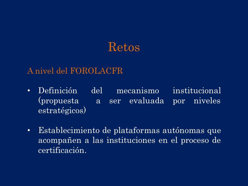 Retos A nivel del FOROLACFR Definición del mecanismo institucional (propuesta a ser evaluada por niveles estratégicos) Establecimiento de plataformas