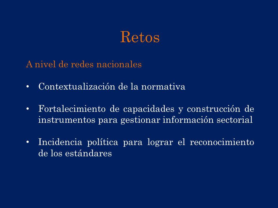 Retos A nivel de redes nacionales Contextualización de la normativa Fortalecimiento de capacidades y construcción de instrumentos para gestionar infor