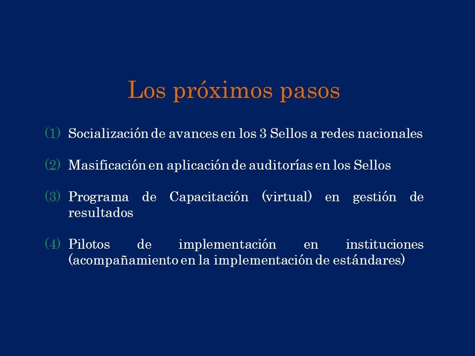 Los próximos pasos (1)Socialización de avances en los 3 Sellos a redes nacionales (2)Masificación en aplicación de auditorías en los Sellos (3)Program