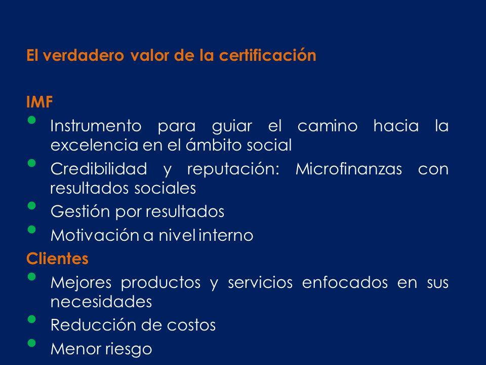 El verdadero valor de la certificación IMF Instrumento para guiar el camino hacia la excelencia en el ámbito social Credibilidad y reputación: Microfi