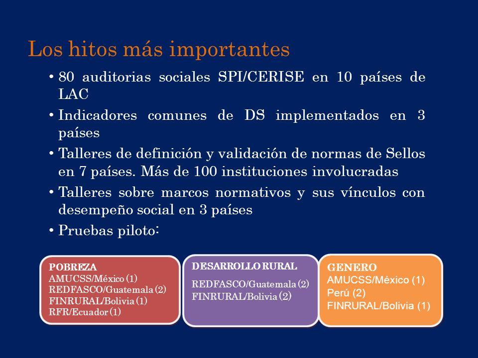 Los hitos más importantes 80 auditorias sociales SPI/CERISE en 10 países de LAC Indicadores comunes de DS implementados en 3 países Talleres de defini